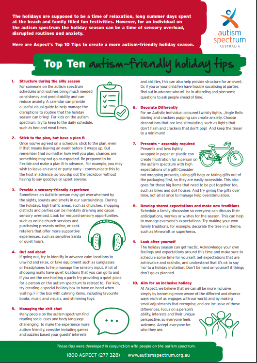Top 10 autism friendly holiday tips